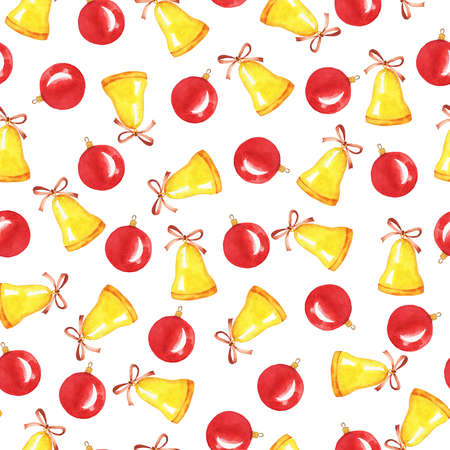 Seamless pattern with golden bells and red christmas balls on white background.