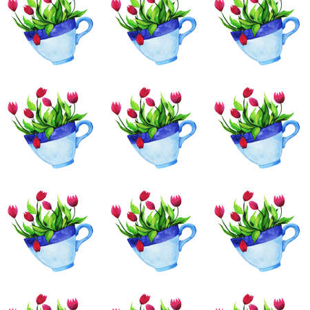 Seamless pattern with blue tea cups with herbal drink painted by watercolor. Hand drawn illustration.