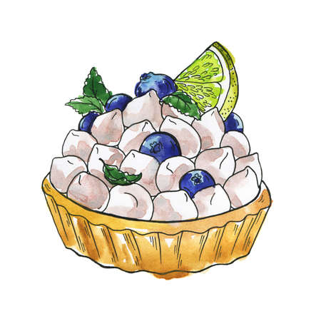 Delicious dessert tart with vanilla cream, lime, fresh blueberry and mint. Hand drawn watercolor and ink illustration.