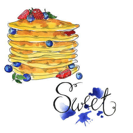 Sweet pancakes with fresh berries. Hand letteringd. Blue color backdrops on white background. Hand drawn  and ink illustration.