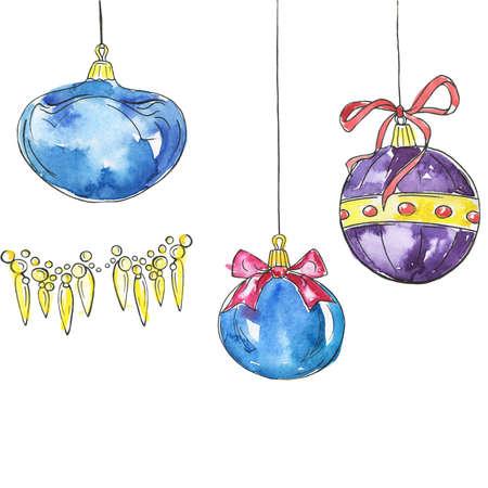 Set of decorative christmas balls. Cartoon watercolor and ink sketch. Hand drawn illustration. Banco de Imagens