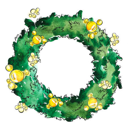 Traditional christmas pine tree wreath with yellow beads. Cartoon  and ink sketch. Hand drawn illustration.