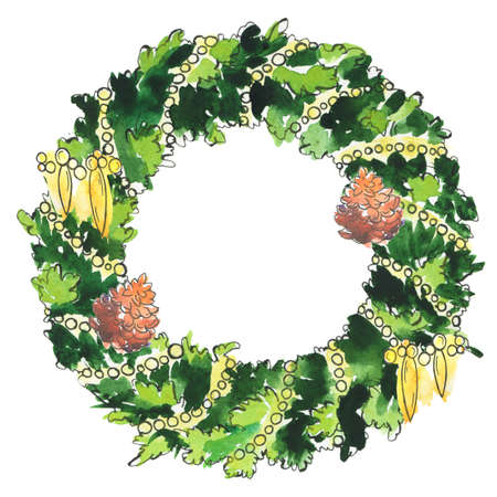 Christmas tree pine wreath with golden beads and pine cones. Cartoon  and ink sketch. Hand drawn illustration. Banco de Imagens