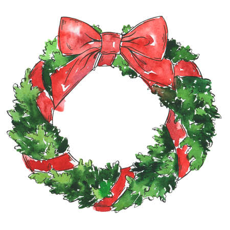 Traditional christmas pine tree wreath with red ribbon. Cartoon  and ink sketch. Hand drawn illustration.