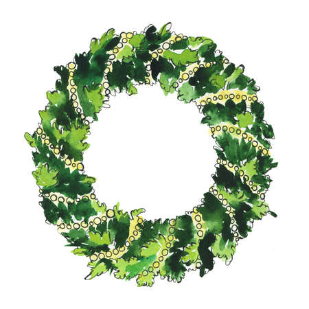 Traditional christmas pine tree wreath with golden beads. Cartoon  and ink sketch. Hand drawn illustration. Banco de Imagens