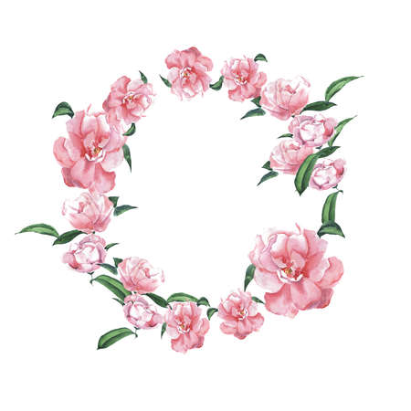 Pink magnolia flower frame painted by watercolor. Wedding design. Hand drawn illustration.