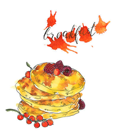 Sweet pancakes with fresh berries. Hand lettering. Orange color backdrops on white background. Hand drawn  and ink illustration.