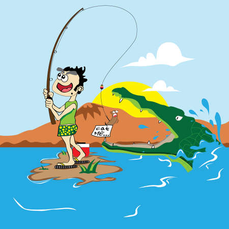 eat me: Eat Me Fishing Illustration