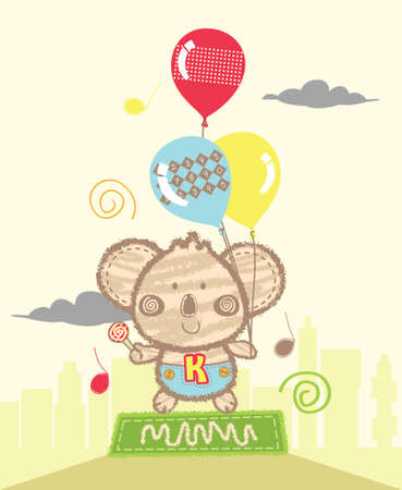 baloons: Koala Playing Baloons Illustration