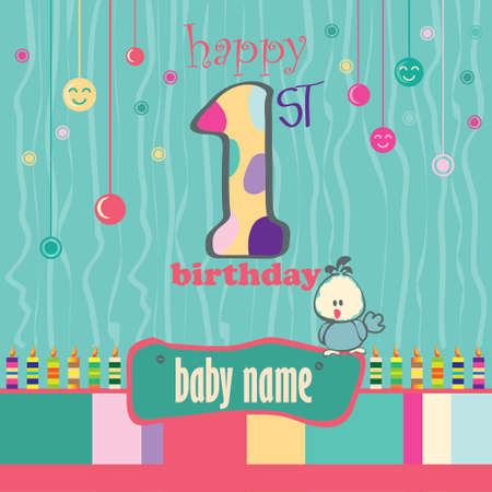 1st birthday: 1st Birthday Greeting Card 2 Illustration