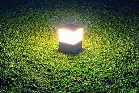 luminaire: Lamp on Grass Light On Close Up Stock Photo