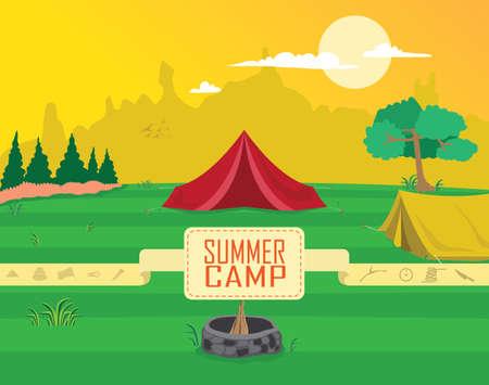 campamento de verano: Summer Camp Clipart Vector