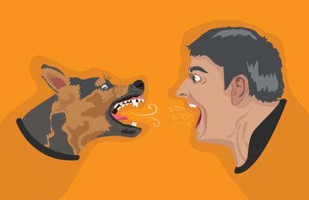 angry dog: Angry Dog Angry Man Illustration