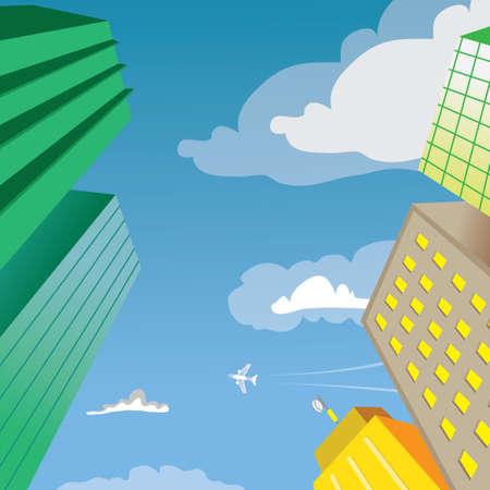 mega city: Skyscraper Building Perspective Vector Illustration