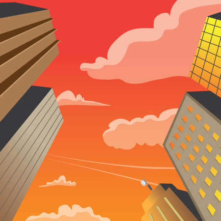 perspektiv: Skyscraper Building Perspective Night Scene