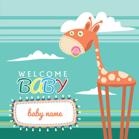 welcome baby: Welcome Baby Born Greeting Card Cute Illustration
