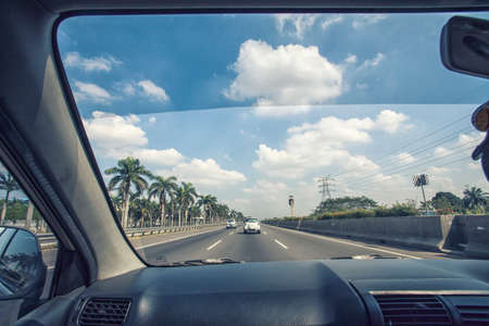 view to outside: Highway View from Inside a Car