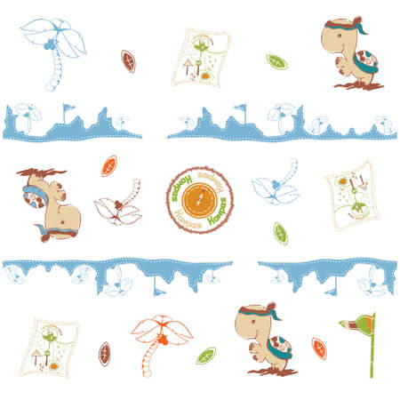 children's story: LONG JOURNEY WITH TURTLE PATTERN SEAMLESS