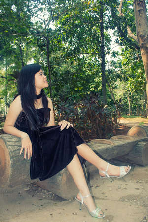 chinesse: portrait of beautiful young asian girl sit on stone chair in the park wearing dark brown full dress Stock Photo