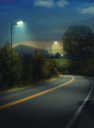 Street Lighting Using LED Lamp Stock Photo