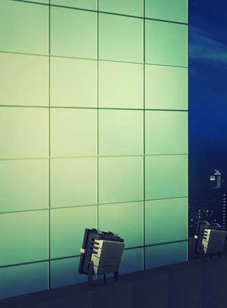 luminaire: exterior building facade at night