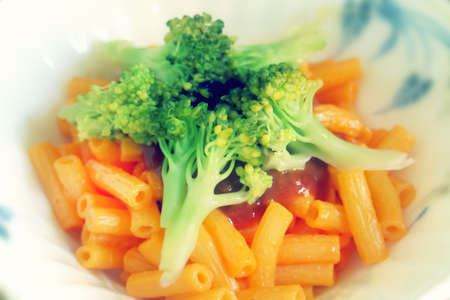 macarrones: macaroni with vegetables photo