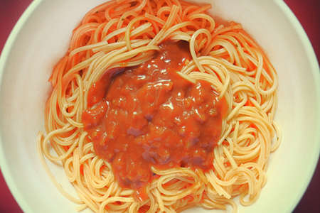 mie noodles: spaghetti with barbeque sausage