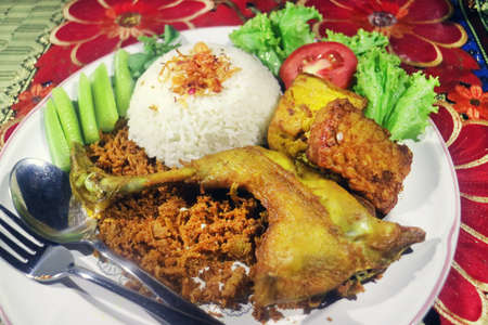 Crispy Chicken Indonesian Traditional Menu Stock Photo