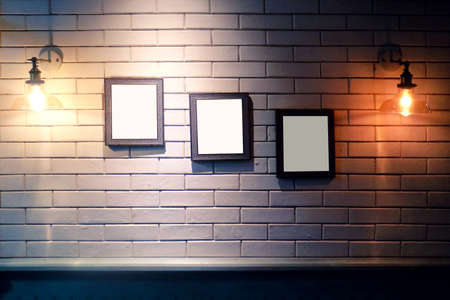 Wall with three frame for photo Stock Photo