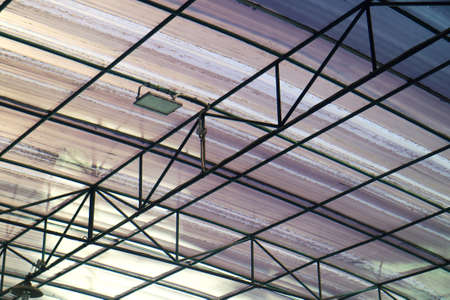 Tin Roof Architecture with Iron Frame Stock Photo