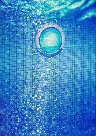 Underwater Lighting for Swimming Pools Using LED Bulb Stock Photo