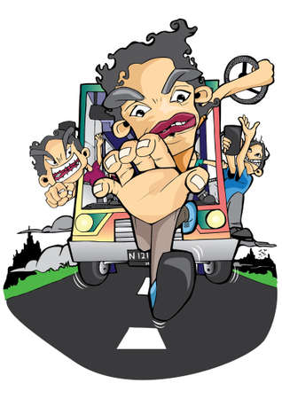 a man stole the bus steering wheel and then escaping Illustration