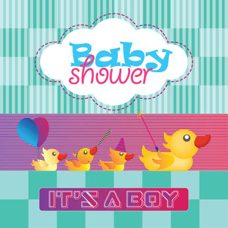 Baby Shower with Duck Greeting Card Illustration