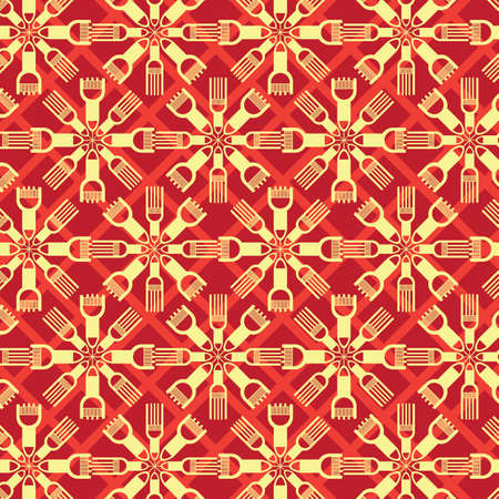 Abstract Shape Fractal Seamless Red Illustration