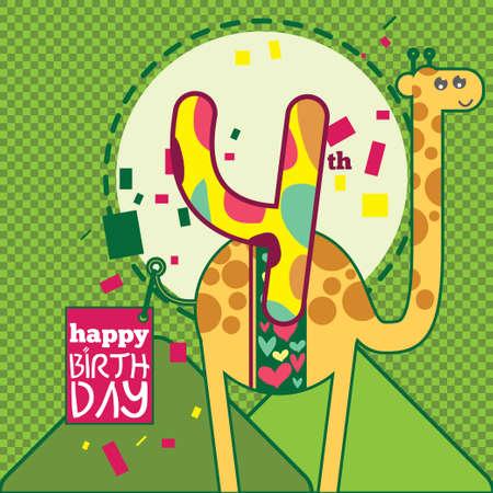 4th Birthday with Camel Illustration