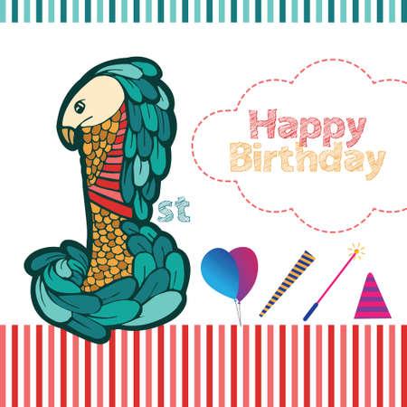 1st Birthday Bird Head Illustration