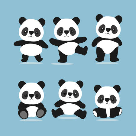 Panda bear vector set.