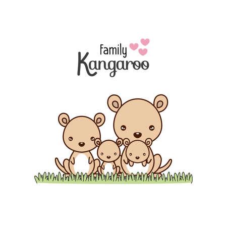 Kangaroo Family Father Mother and Newborn Baby.  Vector illustration. Ilustração