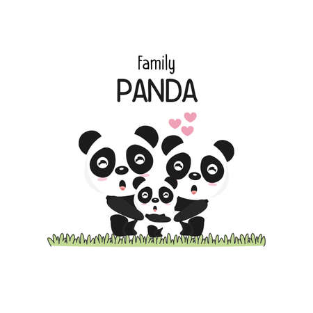 Cute Panda Family Father Mother and baby. Illustration