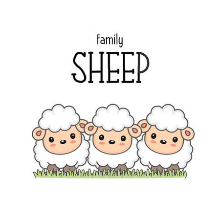 Happy sheep family. Mom dad and baby sheep cartoon on the grass. Ilustrace