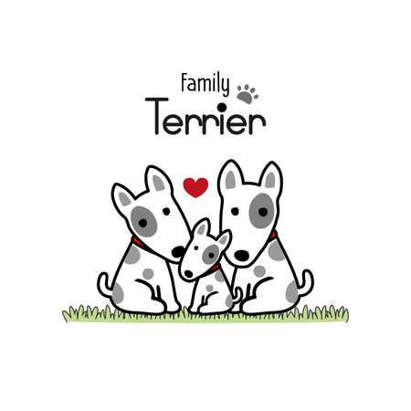 Terrier Dog Family Father Mother and Newborn Baby. 矢量图像