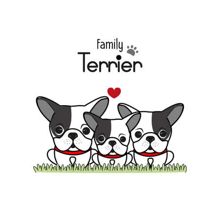 Terrier Dog Family Father Mother and Newborn Baby. Standard-Bild - 121628833