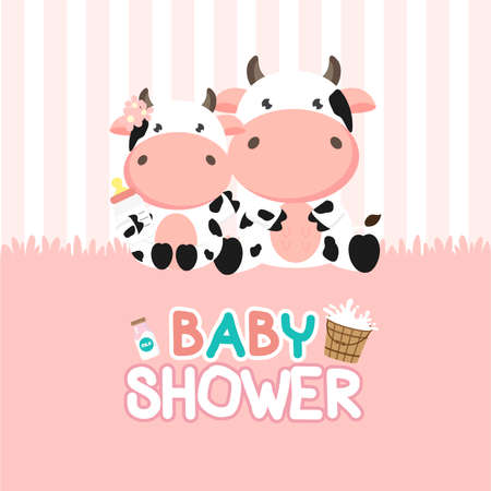 Baby Shower greeting card with little cow.vector illustration