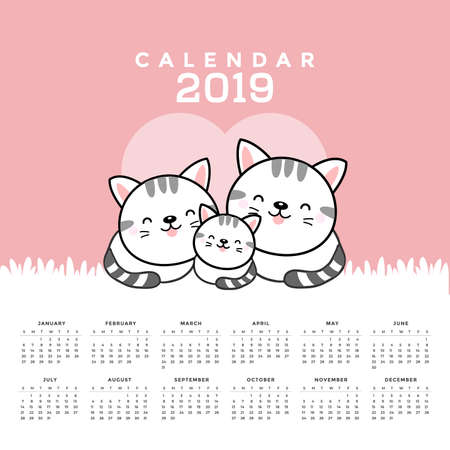Calendar 2019 with cute cats. Hand drawn vector illustration 向量圖像