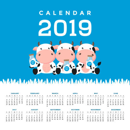 Calendar 2019 with cute cows. Hand drawn vector illustration Banco de Imagens - 121628862