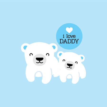 Fathers Day card with Dad Polar Bear and his baby. Illustration