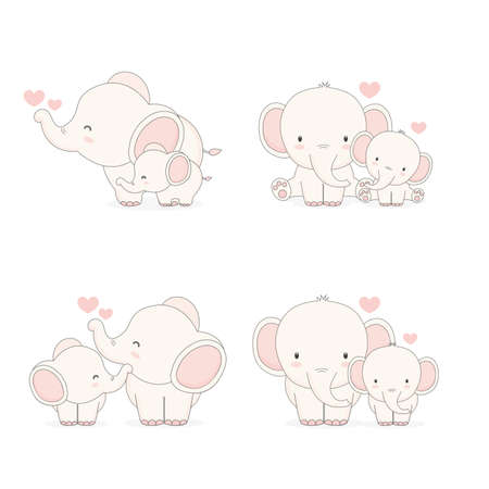 Elephant mom and baby. Vector illustration.