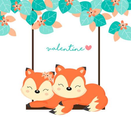 Valentine's Day Cards. Couple foxes on swing in the forest. Illustration