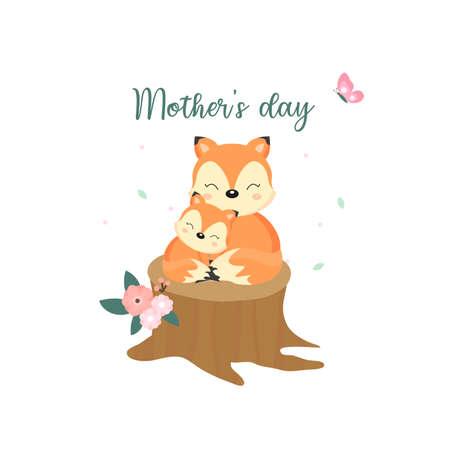 Tarjeta de felicitación del día de la madre con zorro y madre en el tronco de madera.