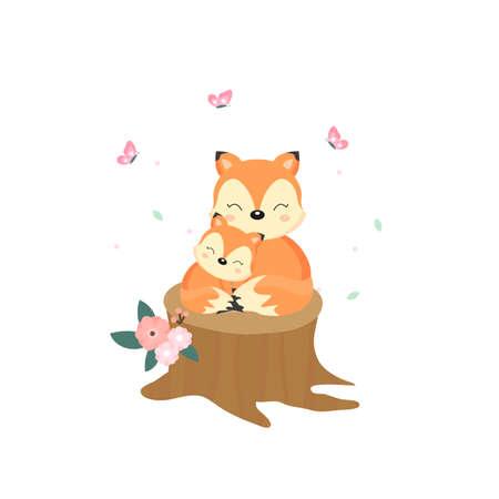 Cute fox cartoon. Vectores